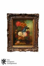 Still Life Oil Painting on Canvas Signed Amini Floral Flowers in Vase Peonies