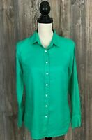 "J. Crew ""Perfect"" Shirt 100% Linen Button Front Long Sleeve Blouse Small Size 2"