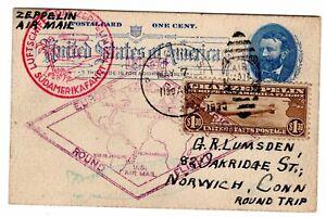 C14 Zeppelin Flight Boston MA South America Flight Round Trip on Postal Card