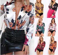 Ladies Floral Print Wrap Front Plunge Neck Silk Satin Bodysuit Shirt Blouse Top