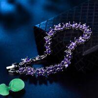 Stunning Gold Filled Elegant Women Charm Purple Amethyst Crystal Bracelet Chain