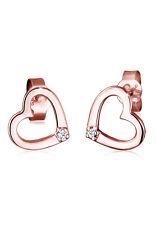 Herz Ohrringe 0.04 ct. Klassisch 925 Silber natürliche Diamanten Diamore Neu