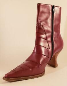 MICHEL PERRY - Bordeaux (Red) Italy Leather Ankle Boots - Size 37(EURO)