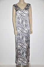 Thomas Wylde Silk Print Multi Color Grey And White Maxi Resort Dress Size M