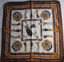 """Joli foulard  en soie  FABIANI """" GOLF """" TBEG  vintage Scarf 90cm x 90cm scarf"""