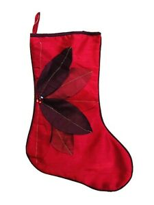 18 in Red Poinsettia Christmas Stocking