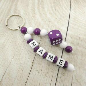 Schlüsselanhänger mit Namen, Würfel lila, weiß, lila, Mädchen, Geschenk