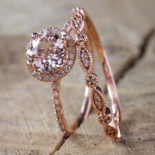 Popular Genuine Sterling Silver 14K Solid Rose Gold Round Diamond Rings Set Ring