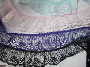 2 meters x 50 mm Gathered Lace-choose  Red,White,Royal Blue, Green,Silver,Yellow