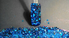 glitter mix acrylic gel nail art Sapphire Surrender