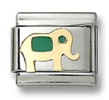 Authentic Italian Charm Elephant 18k Gold Green Enamel 9mm Modular Link Bracelet