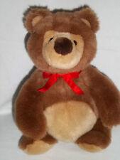 Vintage Gund Plush Brown Bear Red Ribbon Nose In Air Pot Belly Stuffed Animal