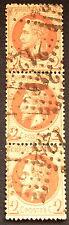 timbre france, n°26, 2c brun empire lauré, TB, Obl, cote 130e en bandes de trois