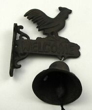 CAST IRON- Wall Mount Small  Rooster Bell Indoor or Outdoor Country  Decor