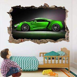 Super Sports Green Car Wall Stickers Mural Decal Print Art Supercar BR5