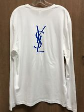 Yves Saint Laurent YSL White Long sleeve logo t-shirt, size XL, RARE Promo Shirt