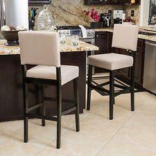 Set of 2 Cream Open Back Bar Stool 30 Inch Padded Seat Backrest Barstool Height