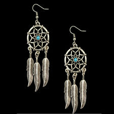 Popular Women Fashion Jewelry Dream Catcher Feather Charm Pendant Drop Earrings