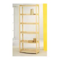 Libreria 5 ripiani sagomati massello grezzo mis. 60 x 36 x 165 cm sp. 18 mm