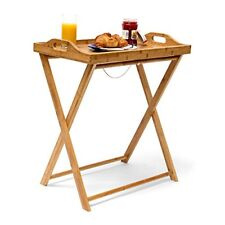 Relaxdays table D'appoint pliante pliable en Bambou Desserte Cuisine Plateau amo
