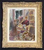 RAYA SAFIR (1909-2004) PEINTURE FAUVISTE BELLE SCENE D'INTERIEUR 1950 (185)