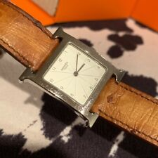 Hermes H Heure Stainless Watch With Tan Ostrich Leather Band