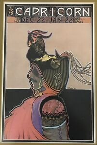 "RARE David Palladini Capricorn Framed Print Poster Vintage 1969 Zodiac 24"" x 18"""