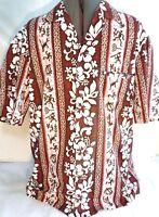 Royal Creations-Mens Button Down Classic Hawaiian Shirt, Large, Floral Pattern