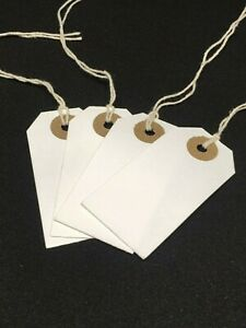 White Strung Tie On Tags Labels Retail Luggage tags with string 96mm x 48mm