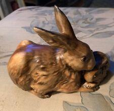 "Vintage Goebel (W Germany) Mother + Baby Rabbit Figurine 1975 34 301-1 7x4"""