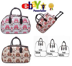 Owl Design Ladies Trolley Bag Vintage Holdall,Hand Luggage Travel Handbag Suit