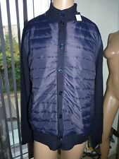 Holland Esquire Hybrid Jacket 44 Navy Blue Padded Long Sleeve Knitted Coat XL