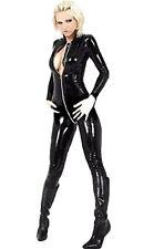 NUOVO stile lattice Catsuit manica lunga frontale con cerniera Body Halloween Nero Misura