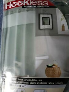 Hookless Waffle 71-Inch x 74-Inch Fabric Shower Curtain In Jade green