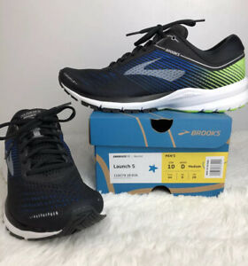 New Brooks Launch 5 Mens Black Blue Green Size 10 Athletic Running Shoes