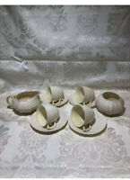 Belleek Ireland  Limpet Yellow,10 pc. Set ~Tea Cups,Saucer, Creamer Sugar Tray