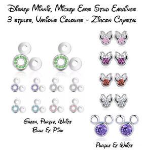Disney Mickey Ears Zircon Crystal Silver Plated Stud Earrings - Fast & Free Post
