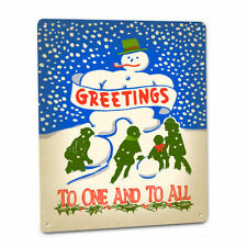 Greetings To One And To All Christmas Sign Snowman Holly Snow Decoration Decor