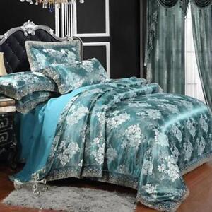 4Pcs Silk Blend Comfort Mulberry Duvet Cover Quilt Sheet Pillow Case Bedding Set