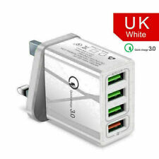 4 Port Fast Qualcomm Quick Charge QC 3.0 USB Hub Wall Charger Adapter Plug WHITE