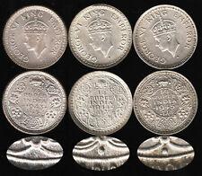 British India1943-45 C 3-coin George 6 Silver 1/4 Rupee set AU-BU  RARE