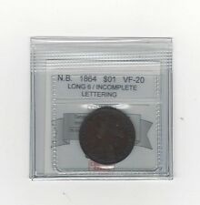**1864 Long 6**,New Brunswick Large One Cent, Coin Mart Graded **VF-20**Inc. Let
