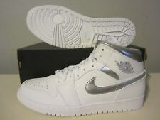(554724 105) DS Air Jordan 1 Mid white/metallic silver sz 11 Mens retro og