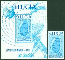 EDW1949SELL : ST LUCIA 1967 Scott #C1 Imperf single & S/S Very Fine MNH Cat $65.