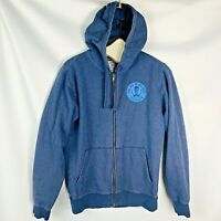 Patagonia mens front zip hooded sweatshirt size large blue skull crossbones