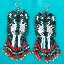 """""""TIMBER WOLF"""" NATIVE AMERICAN INDIAN BEADED EARRINGS"""