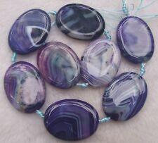 30x40mm Purple Veins Agate Flat Oval Loose Beads 7pcs