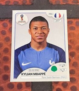 2018 Panini World Cup #197 Kylian Mbappe RC Sticker PINK back Rookie France PSG