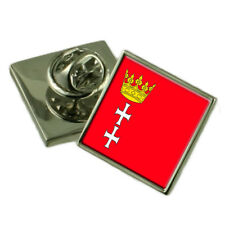 Gdansk City Poland Flag Lapel Pin Engraved Box