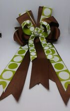 Equestrian Horse Show Hair Bows W/ French Clip Brown and Green Print Ribbon